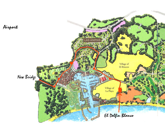 Printable Map from Airport to El Delfin Blanco (85K)